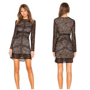 Bardot Sasha Lace Dress in Black Ruffle Trim